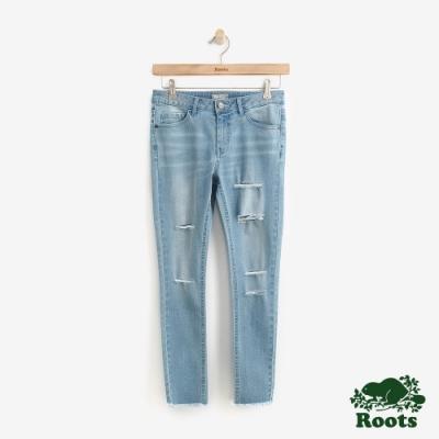 Roots女裝  緊身九分丹寧褲-藍
