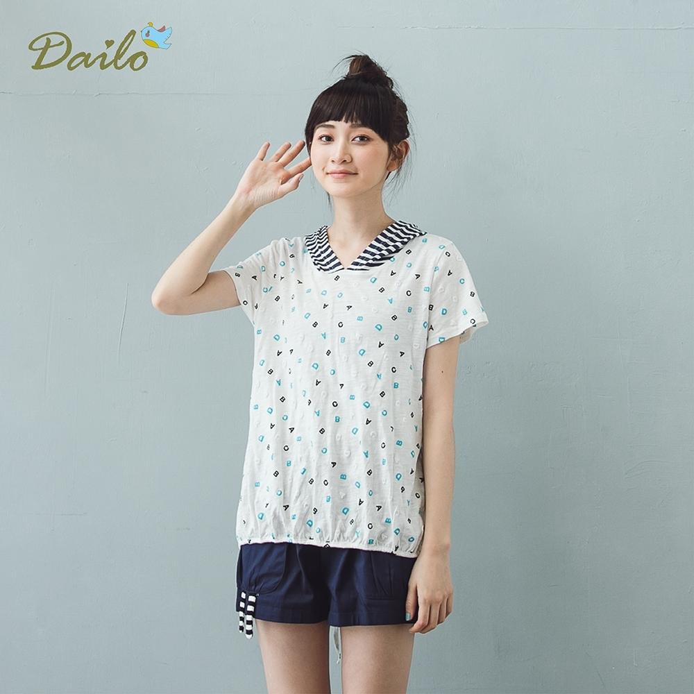 【DAILO】條紋英文字母短袖-上衣(三色)