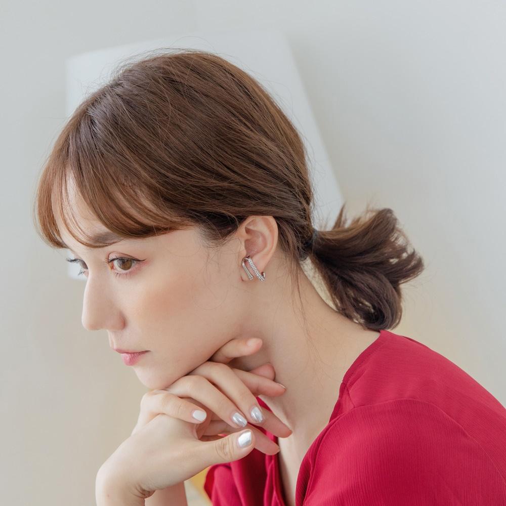 質感雙層線條亮鑽鋯石耳針式耳環-OB大尺碼 product image 1