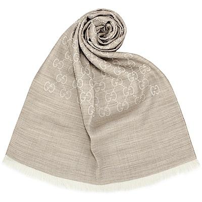 GUCCI 經典滿版LOGO真絲羊毛圍巾披肩-灰色