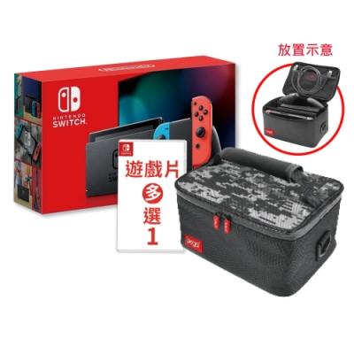 Switch紅藍電力加強版主機+鋼化貼+遊戲任選一片+主機全收納箱