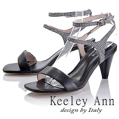 Keeley Ann 摩登時尚~格紋雙腳踝帶真皮軟墊高跟涼鞋(黑色-Ann)