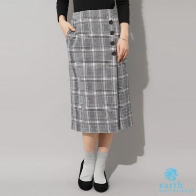 earth music 格紋排釦造型膝下裙