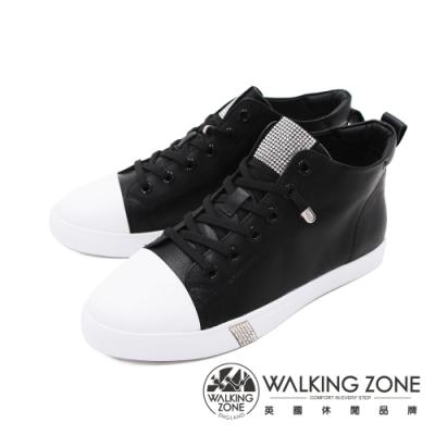 WALKING ZONE(女) 圓頭高筒鑽飾板鞋休閒鞋 女鞋 - 黑(另有白)