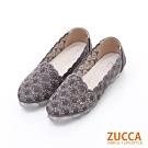 ZUCCA-縷空編織花邊平底包鞋-銀-z6222gy