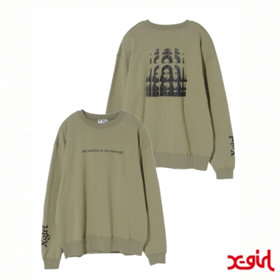 X-girl PSYCHEDELIC FACE CREW SWEAT TOP大學T-橄欖綠