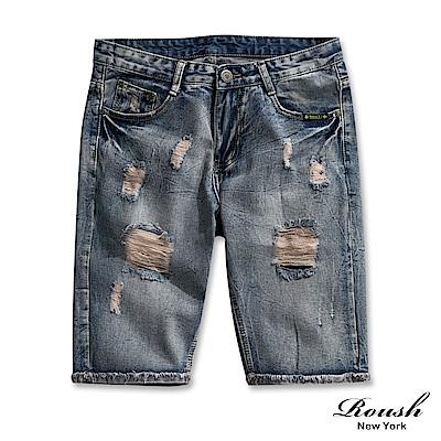Roush 復古刷破反摺抽鬚牛仔短褲