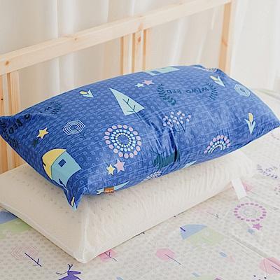 米夢家居-夢想家園系列-100%精梳純棉信封式標準枕通用布套(深夢藍)四入