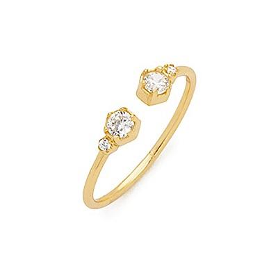 SHASHI 紐約品牌 PENELOPE 真愛之吻鑲鑽C型戒指 925純銀鑲18K金