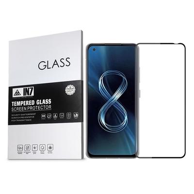 IN7 ASUS ZenFone 8 (5.9吋) ZS590KS 高清 高透光2.5D滿版9H鋼化玻璃保護貼 疏油疏水 鋼化膜-黑色