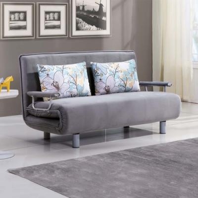 Boden-荷森灰色布沙發床/雙人椅/二人座(送抱枕)