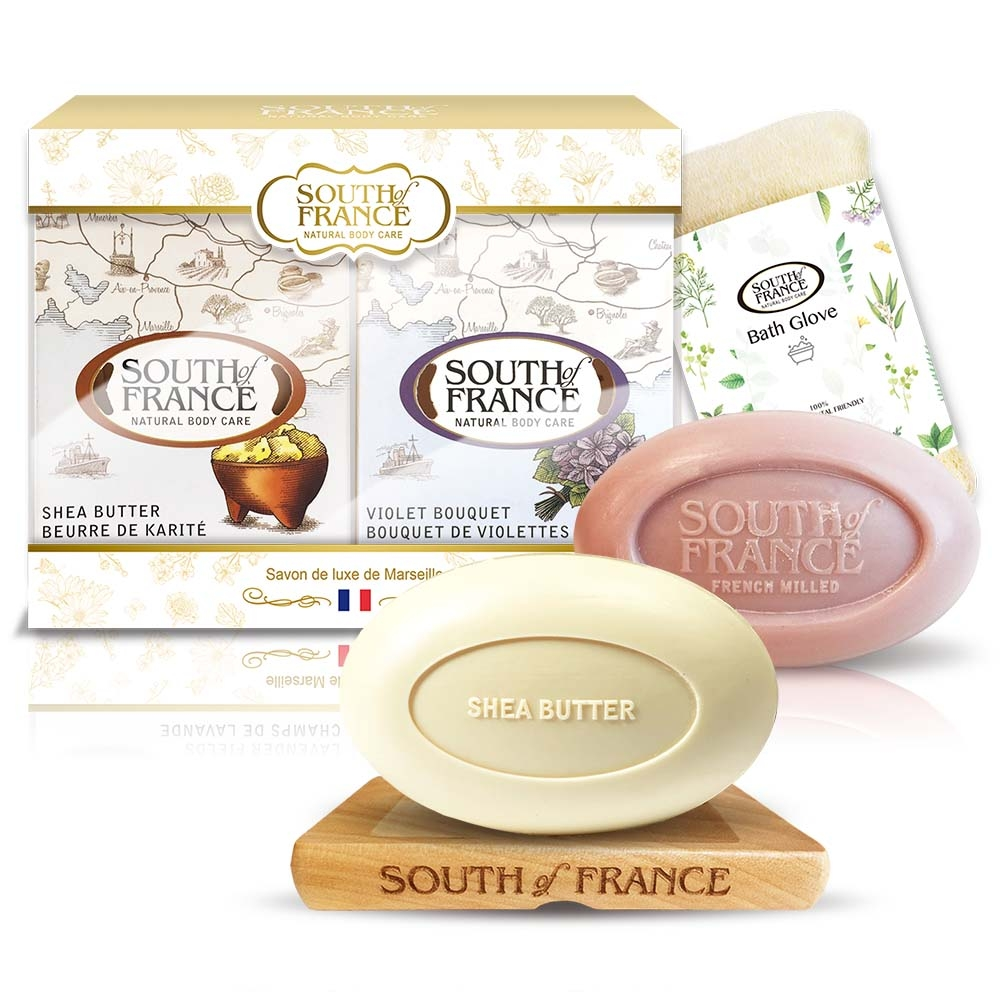 South of France南法馬賽皂鳶尾花乳木果潤澤滋養組170gx2(贈專屬沐浴手套)