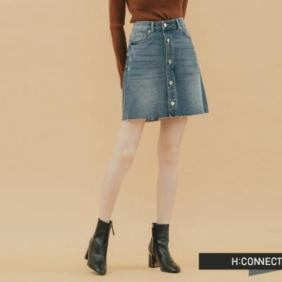H:CONNECT 韓國品牌 女裝-個性排釦不收邊短裙-藍