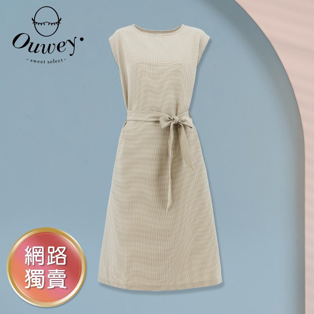 OUWEY歐薇 小千鳥格紋無袖質感綁帶連身裙(杏)3212467036