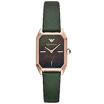 Emporio Armani 質感珍珠貝時尚真皮手錶(AR11149)-黑X綠/24mm