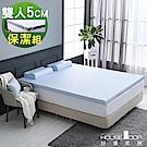 House Door 水藍色舒柔尼龍表布Q彈乳膠床墊5cm厚保潔組-雙人5尺