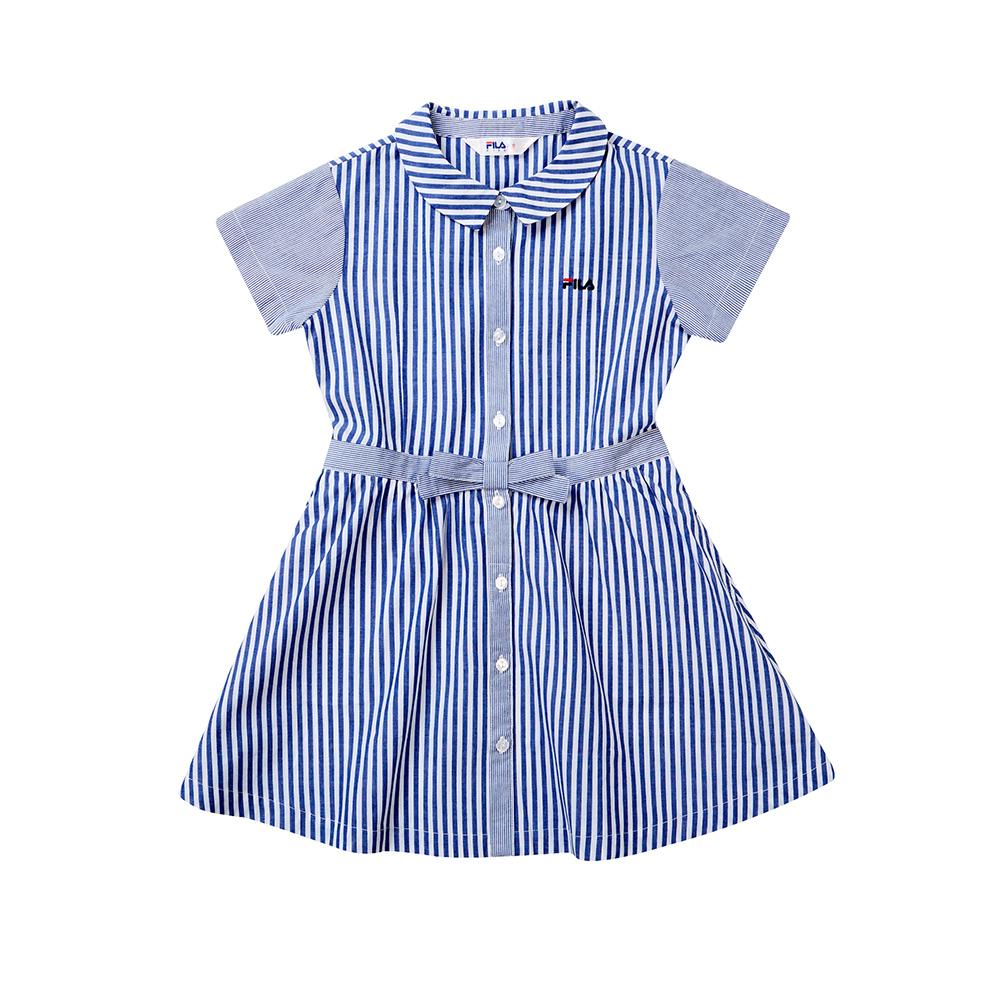 FILA KIDS 女童短袖平織洋裝-藍色 5DRT-4447-BU