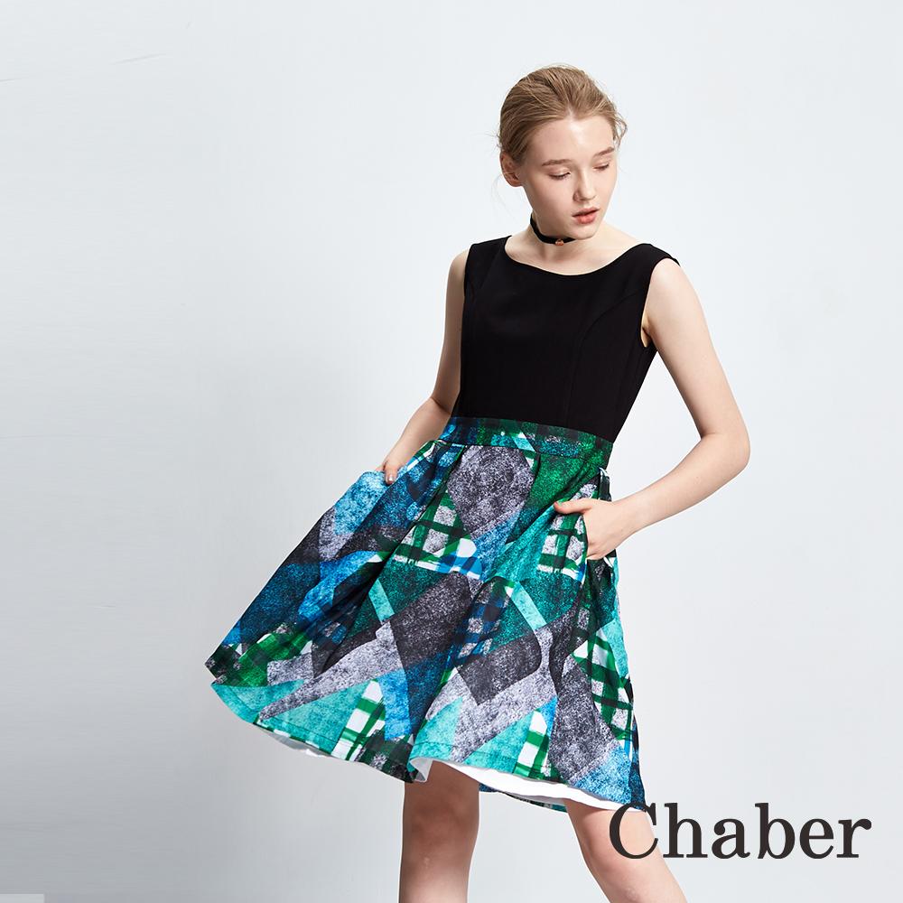 Chaber巧帛 格紋線條幾何印花拼接洋裝