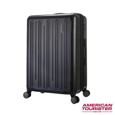 AT美國旅行者 28吋Gorgeous簡約線條防爆拉鍊可擴充TSA行李箱(黑)