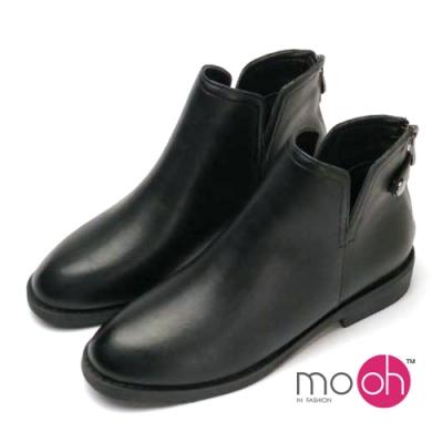 mo.oh大V口女靴後拉鍊搭扣短靴-黑色
