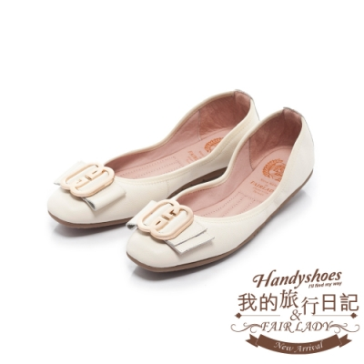 FAIR LADY 我的旅行日記-口袋系列G型飾釦帶皮革方頭平底鞋 奶油白