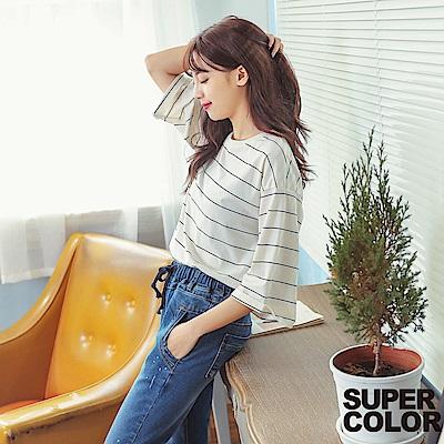 SUPER COLOR韓版清新條紋反摺袖寬鬆短袖T恤-白色