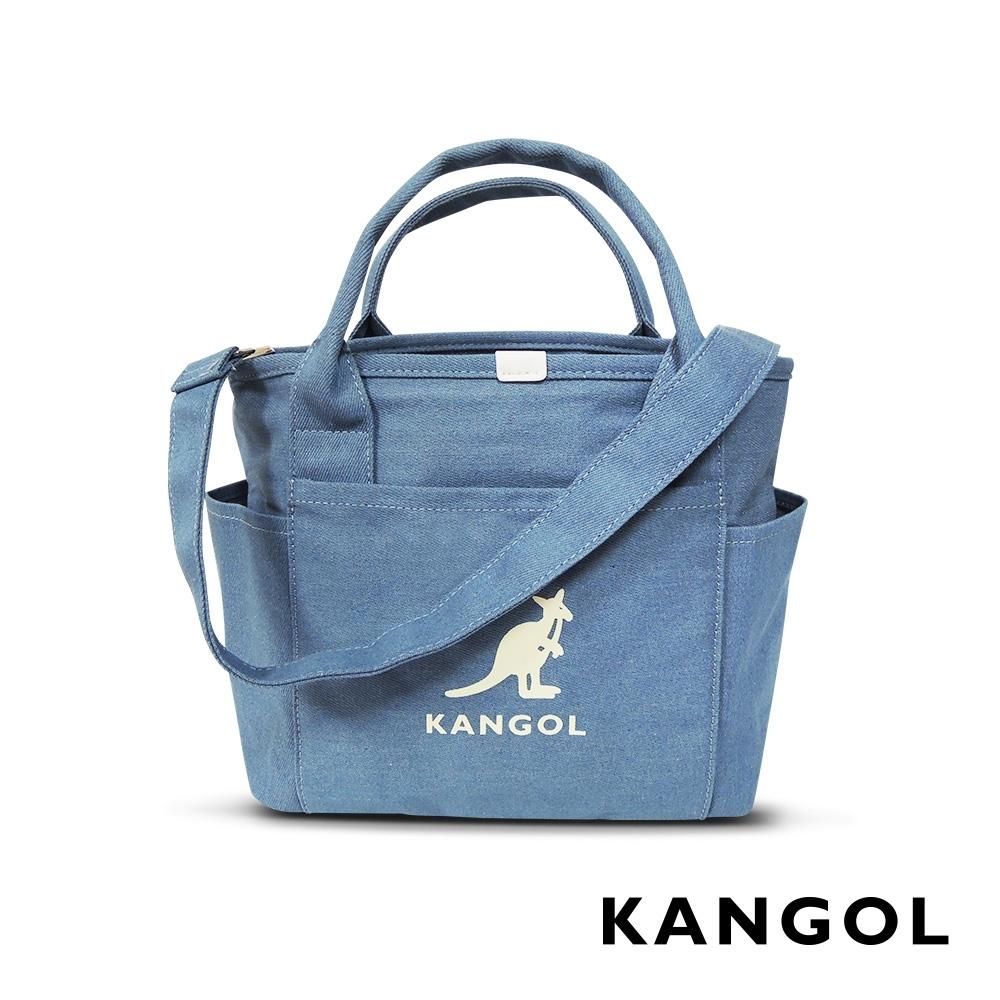 KANGOL 韓版玩色-牛仔手提/斜背托特包-淺藍 AKG1216-B
