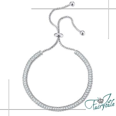 iSFairytale伊飾童話 鑽石階梯 方形鋯石單排鑽白銀手鍊