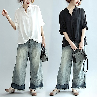 極簡純色前收口寬鬆襯衫上衣L~XL(共二色)-Keer