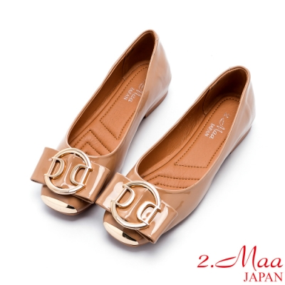 2.Maa 蝴蝶結飾扣小牛皮平底娃娃鞋 - 棕