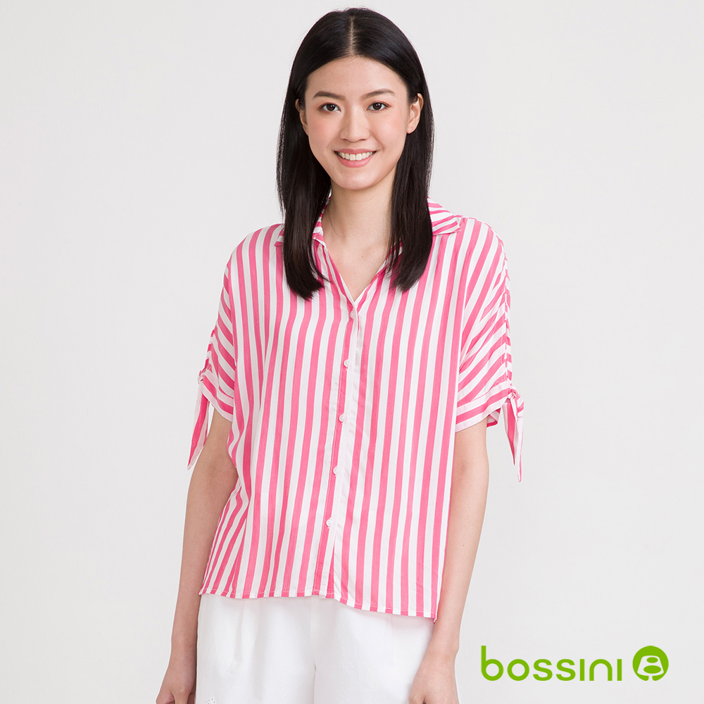 bossini女裝-開領五分袖襯衫01嫩粉