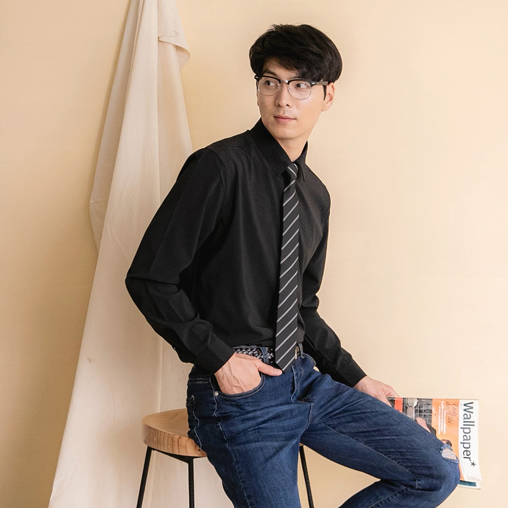 素色簡約吸濕排汗長袖襯衫-OB大尺碼