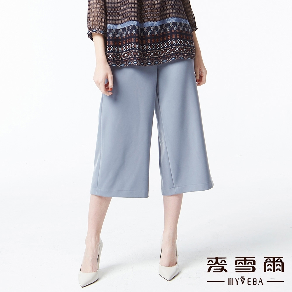 麥雪爾 純色造型織帶八分寬褲-灰