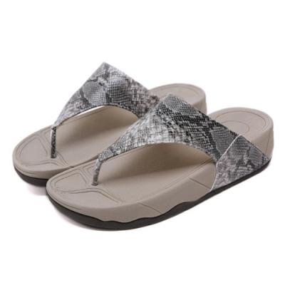JMS-涼夏時尚蛇皮紋舒壓夾腳厚底涼拖鞋-灰色