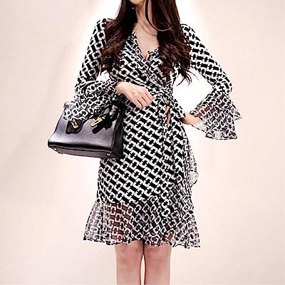 DABI 韓系V領系帶拼接荷葉邊印花防曬長袖洋裝