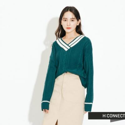 H:CONNECT 韓國品牌 女裝-V領撞色麻花針織上衣-綠(快)