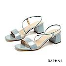 達芙妮DAPHNE 涼鞋-質感漆皮一字帶鏤空繫踝粗跟涼鞋-藍色