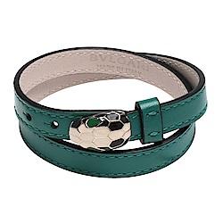 BVLGARI Serpenti Forever系列小牛皮琺瑯蛇頭穿釦兩圈式手環(祖母綠)