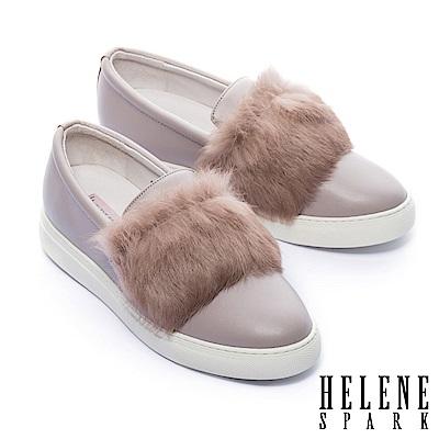休閒鞋 HELENE SPARK 奢華兔毛全真皮厚底休閒鞋-可可