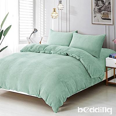 BEDDING-200克波斯絨-加大雙人床包兩用毯被套四件組-初日抹茶綠