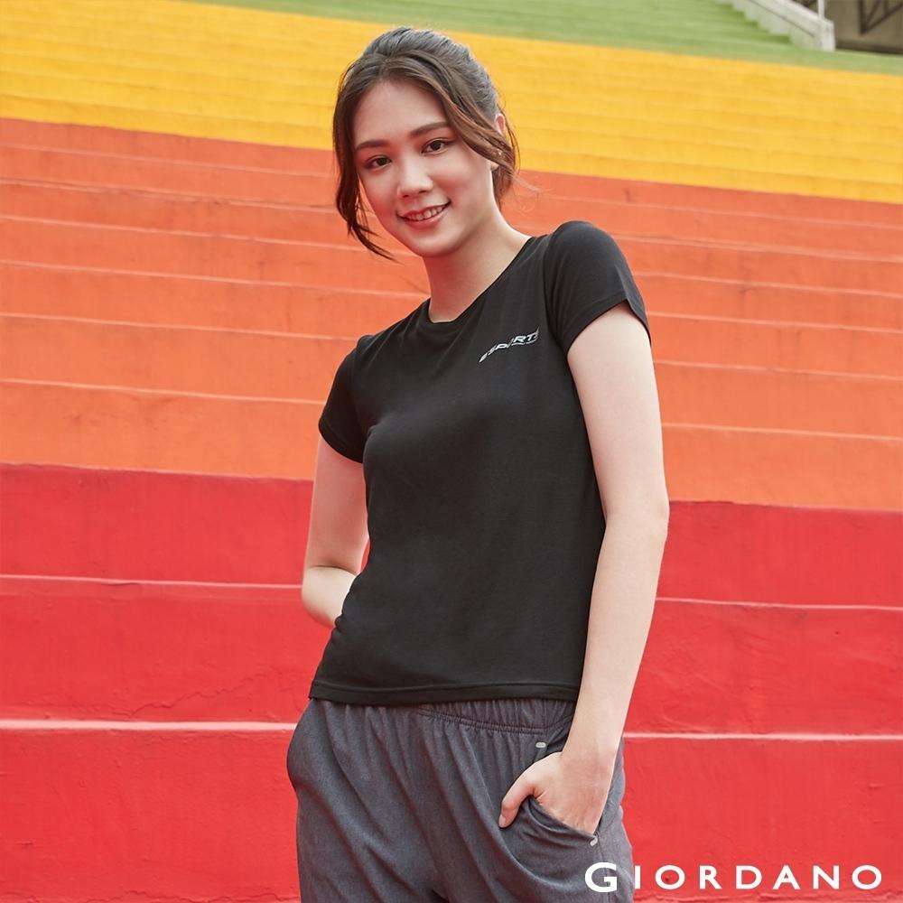 GIORDANO 女裝運動系列吸濕排汗素色短袖T恤-08 標誌黑
