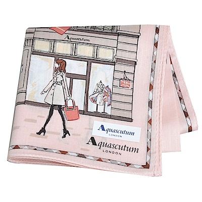 Aquascutum 倫敦風格時尚仕女品牌圖騰字母LOGO帕領巾(粉紅系) @ Y!購物