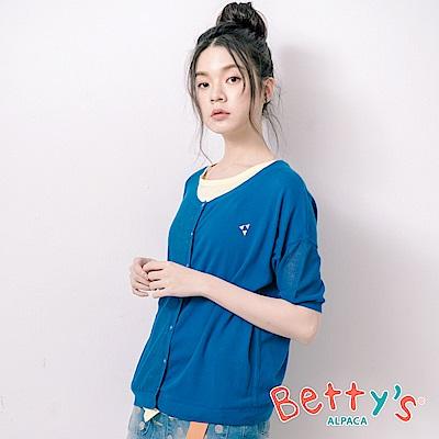 betty's貝蒂思 透膚半簍空開襟針織罩衫(藍色)