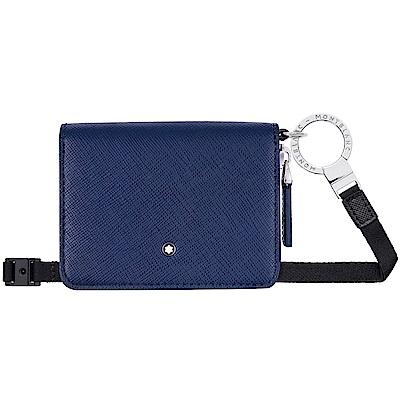 萬寶龍十字紋透明視窗零錢包(附背帶)-靛青色