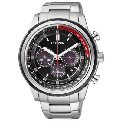 CITIZEN Eco-Drive 撼動自我光動能三眼計時腕錶-黑x銀-CA4034-50F-44mm
