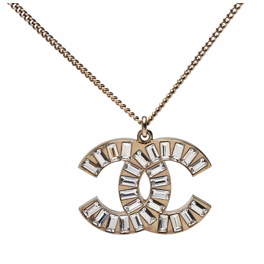 CHANEL 經典雙C LOGO寶石排列鑲飾造型項鍊(金)