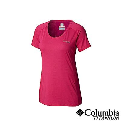 Columbia 哥倫比亞女款-鈦 涼感快排短袖上衣-桃紅 UAR26500FC