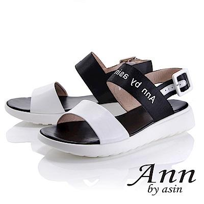 Ann by asin 韓式風潮~雙色寬帶英文字樣平底涼鞋(白色)