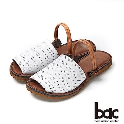 bac繽紛曼谷 - 簡約素色雷射沖孔兩穿式平底涼拖鞋-白