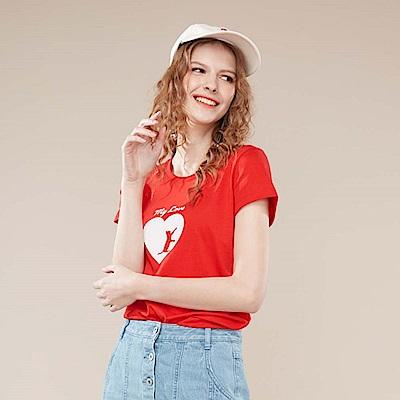 GIORDANO 女裝可愛貓咪印花純棉T恤-06 競賽紅
